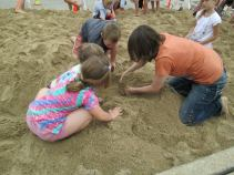 Digging for dinosaur eggs.